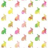 Fundo verde cor-de-rosa roxo Bunny Pattern da aquarela dos coelhos fotografia de stock