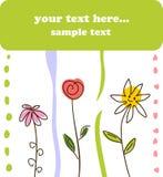 Fundo verde da flor do cartão do presente da criança Imagem de Stock