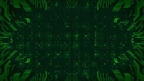 Fundo verde da placa de circuito da Olá!-tecnologia Animação sem emenda gerada por computador do sumário do laço vídeos de arquivo