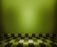 Fundo verde da sala do mosaico do tabuleiro de xadrez Imagens de Stock Royalty Free