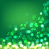 Fundo verde do bokeh do trevo para o dia do ` s de St Patrick Foto de Stock Royalty Free