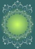 Fundo verde do inclinação com os testes padrões florais do folclore compostos no círculo como o quadro do vintage, espaço vazio p Fotografia de Stock