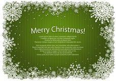 Fundo verde do Natal com quadro dos flocos de neve Fotos de Stock