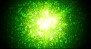 Fundo verde do respingo do vetor dos números de código binário do vetor do estilo da matriz ilustração do vetor