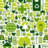 Fundo verde do teste padrão dos ícones do ambiente Fotografia de Stock Royalty Free
