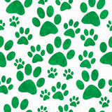 Fundo verde e branco de Paw Prints Tile Pattern Repeat do cão Fotos de Stock