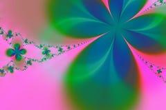 Fundo verde e cor-de-rosa do Fractal da estrela ilustração stock