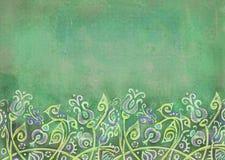 Fundo verde gasto com as flores fantásticas no monte Fotografia de Stock Royalty Free