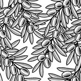 Fundo verde-oliva sem emenda preto e branco Fotos de Stock