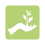 Fundo verde opaco com mão e planta ilustração royalty free