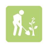 Fundo verde opaco com o homem com pá e árvore ilustração stock