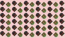 Fundo verde preto do teste padrão do Hamburger no rosa ilustração royalty free