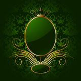 Fundo verde real com quadro dourado. Vetor ilustração royalty free