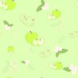 Fundo verde sem emenda com maçãs e flores. Fotografia de Stock