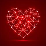 Fundo vermelho abstrato com coração brilhante Ilustração do vetor ilustração stock