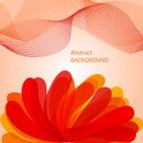 Fundo vermelho abstrato com onda e flor Ilustração Stock