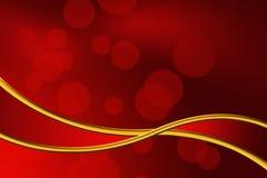 Fundo vermelho abstrato da fita do bokeh e do ouro imagens de stock