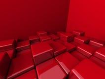 Fundo vermelho abstrato do teste padrão dos blocos dos cubos Imagens de Stock