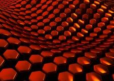 Fundo vermelho abstrato lustroso dos hexágonos Imagens de Stock Royalty Free