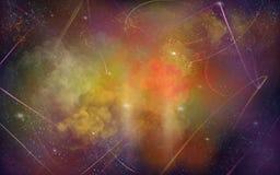 Fundo vermelho, alaranjado, roxo da ilustração do espaço com estrelas brancas brilhantes fotos de stock