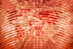 Fundo vermelho artístico do apocalipse do mapa do mundo Imagens de Stock