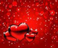 Fundo vermelho bonito dos corações Imagens de Stock