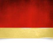 Fundo vermelho com bandeira dourada - molde do Natal Imagens de Stock