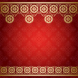 Fundo vermelho com beira floral dourada Imagens de Stock Royalty Free