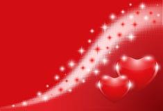 Fundo vermelho com corações Fotos de Stock Royalty Free