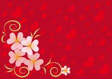 Fundo vermelho com corações e flores da mola Ilustração Stock