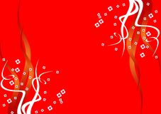 Fundo vermelho com flores Foto de Stock Royalty Free