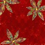 Fundo vermelho com flores Fotos de Stock Royalty Free