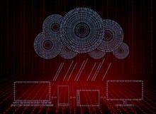 Fundo vermelho com a nuvem do computador com chuva dos números Fotografia de Stock Royalty Free