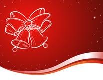 Fundo vermelho com sinos de Natal. Foto de Stock