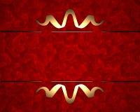 Fundo vermelho com teste padrão do ouro Fotos de Stock