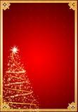 Fundo vermelho da árvore de Natal do inverno Fotos de Stock Royalty Free