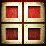 Fundo vermelho da madeira e do ouro Foto de Stock