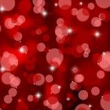Fundo vermelho das luzes de Natal do cetim Fotos de Stock