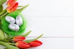 Fundo vermelho das tulipas Imagem de Stock