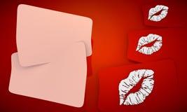 Fundo vermelho do beijo Fotografia de Stock