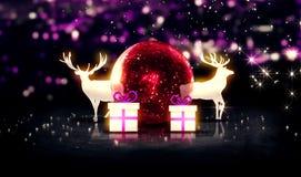 Fundo vermelho do bokeh de Crystal Bauble Christmas Deer Gift 3D Fotos de Stock Royalty Free