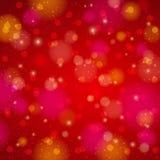 Fundo vermelho do brilho com bokeh, vetor Fotos de Stock