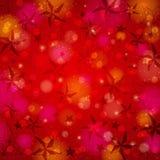 Fundo vermelho do brilho com estrelas do Natal e Fotos de Stock Royalty Free