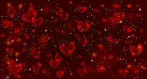 Fundo vermelho do dia de Valentim com corações Fotos de Stock Royalty Free