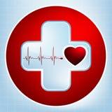 Fundo vermelho do ecg normal do vetor, pulsação do coração. EPS 8 Fotos de Stock