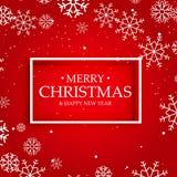 Fundo vermelho do Feliz Natal com flocos de neve ilustração do vetor
