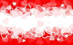Fundo vermelho do feriado com corações ilustração stock
