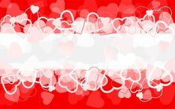 Fundo vermelho do feriado com corações bandeira ilustração stock
