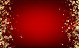 Fundo vermelho do inverno com flocos de neve Fotos de Stock