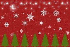 Fundo vermelho do inverno do Natal Fotos de Stock